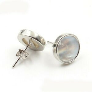 Classic 11MM Round Natural White Shell Gemstone Silver Hook Stud Earrings Women