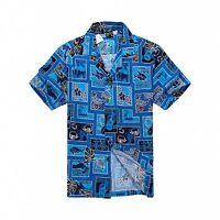 Men Tropical Hawaiian Aloha Shirt Cruise Luau Beach Party Blue Patch Sea Ukulele