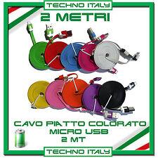 2 Metri Cavo (Cavetto) Dati MICRO USB PIATTO NOODLE per SAMSUNG, HTC, LG, LUMIA