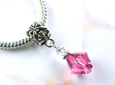 Exquisite Pink Crystal Bead w Swarovski Elements European Style