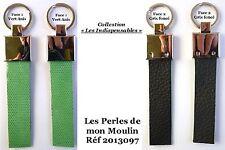 """""""Les Indispensables"""" Porte Clefs pour Homme Cuir Gris et Vert / 2013097"""