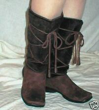 NEW STYLISH DARK BROWN SUEDED BOOTS LACINGS FUR  8.5