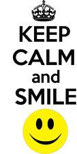 Keep Calm And Smile Adesivo Auto paraurti Adesivo - 18 cm x 8 cm