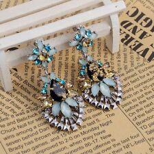 Rhinestone Crystal Party Women Lady Long Earrings Drop Earring Flower Ear Stud