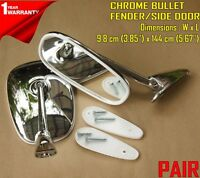 For Fiat 124 Sport Spider 1966-1985 Chrome Fender/Door Mirror Pair Edge Curve