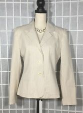 BROOKS BROTHERS WOMEN BLAZER JACKET SEERSUCKER 100% COTTON BEIGE/CREAM SZ 6