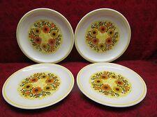 RARE VINTAGE TAYLORTON 4 DINNER PLATES CHECKS & DAISIES BRIGHT & BEAUTIFUL! USA