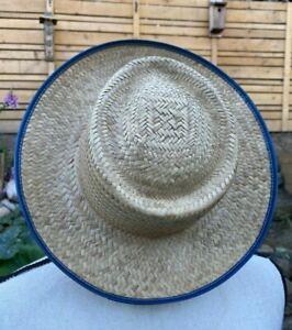 Natural Straw Western Gambler Hat Cowboy Blue Vinyl Trim Chin Cord Kid L Adult S