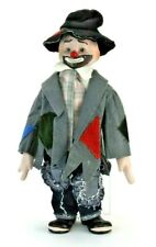 """Vintage Hobo Clown 16"""" Porcelain/Cloth Doll Musical Plays Send in the Clowns"""