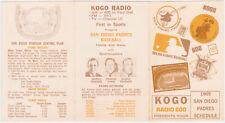 1969 San Diego Padres Pocket Schedule KOGO RADIO NEAR MINT Baseball '69