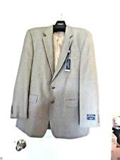NWT CHAPS MEN'S Wool/Silk Blend Tan/Olive Tweed Plaid Suit Jacket Size:46L $225.