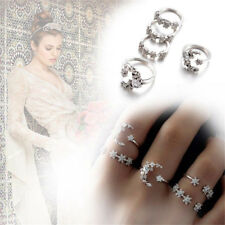 5Pcs/Set Silver Crystal Star Flower Stackable Sparkly Vintage Rings Boho Jewelry