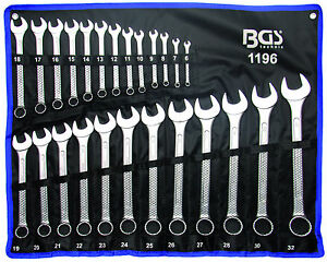 BGS Germany 25-pcs Mechanics Combo Metric Open Ring Ended Spanners Set 6mm-32 mm