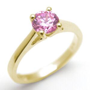 9ct Gold Ring Pink Sapphire Solitaire 1ct Diamond Unique