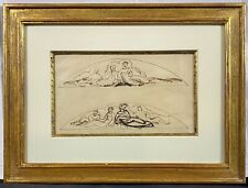 Original 19th / 20th C. Ink Drawing on Paper, Study for Figural Mural or Frieze