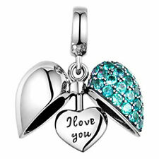 I Love You Aqua Heart Charm - S925 Silver Bead Charms Mum Wife Daughter Sister