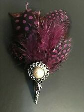 MINAS Mixed Feather Wedding Button Hole Brooch Pin   SALESALESALE