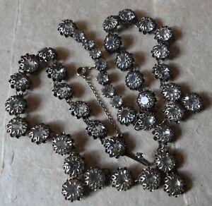 antique vintage art deco clear rhinestone flower Czech silver tone necklace -Z81