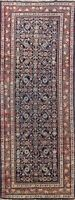Vintage Geometric Traditional Runner Rug Wool Hand-knotted 3x10 Navy Blue Carpet