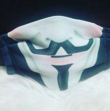 Handmade face mask sewn in filter, nonrusting metal, Anonymous, V for Vendetta