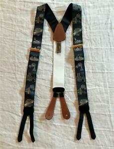 Trafalger Black Silk Suspenders w Global Year 2000 Fireworks Theme Adjustable