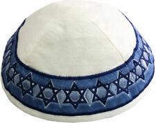 Jewish Kippah with Embroidered Stars of David - Made in Israel - Silk Yarmulka