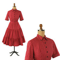Vintage 50s Red Crisp Cotton Full Circle Skirt Baby Doll Rockabilly Dress Set S