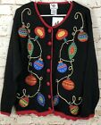 VTG New Nutcracker Ugly Christmas Sweater Cardigan womens 1X bead embroidery H3