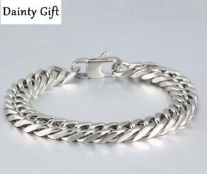 "Men Women Titanium Stainless Steel 7-12 mm Gold Miami Cuban Chain Bracelet 8"""