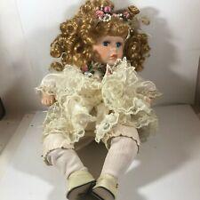 Porcelain 14� Doll Strawberry Blonde Hair Blue Eyes