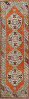 Vintage Geometric Orange 9 ft Runner Anatolian Turkish Wool Rug Hand-Knotted 3x9