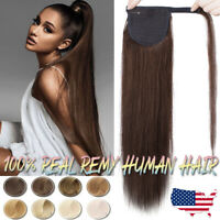 """AAA+ One Piece Wrap Clip In Remy Real Human Hair Extensions 16""""-24"""" Ponytail K72"""