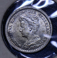 Netherlands 1917 10 Cents silver BU  190002 combine shipping