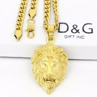 "DG Men's Gold Stainless Steel,Lion Head Pendant 24"" Cuban Curb Necklace + BOX"