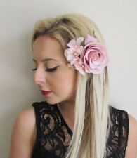14fd5b44 Blush Nude Pink Rose Hydrangea Flower Hair Clip Fascinator Bridesmaid 1950s  5726