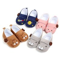 Toddler Baby Girl Boy Button Cartoon Embroidery First Walker Soft Sole Shoes AU