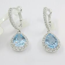 14k Solid White Gold Pave Diamond Dangle Pear Blue Topaz Earrings