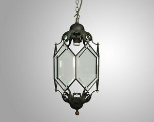 Antique c.1900-1920 Bronze & Bevel Glass Hall / Porch Lantern Pendant Lamp