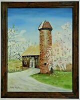 "M.JANE DOYLE SIGNED ORIG. ART OIL/CANVAS PAINTING ""THE SILO""(ARCH./LANDSCAPE)FR."