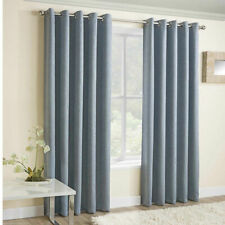 Duck Egg Blue Vogue Thermal Blockout Lined Eyelet Top Ring Top Curtains Pair