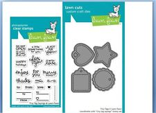 Lawn Fawn Photopolymer Clear Stamp & Die Combo TINY TAGS & SAYINGS  ~LF1222,1223