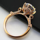 2CT Solid 14K Rose Gold Diamond Women Ring Statement Wedding Jewelry For Her