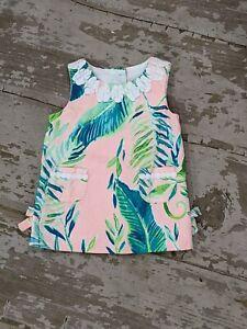 EUC Lilly Pulitzer 3-6M Baby Girl Pink Green Tropical Shirt Dress