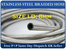 """(8mm) 5/16"""" I.D Stainless Steel Braided Oil/Fuel/Coolant Hose 1 meter"""