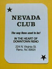 Nevada Club Casino Downtown Reno Joker Single Swap Playing Card