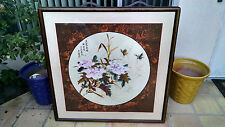 Very Large Signed Chinese Round Floral Painting with Butterflies on Cloth