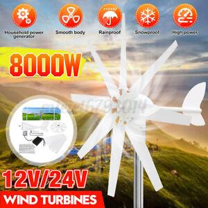 8000W 12V/24V 8-Leaf Wind Turbine Generator Horizontal With Battery Controller