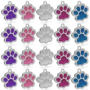 50pcs Rhinestone Glitter Blank Dog Tag Wholesale Pet Keychain No Engraved