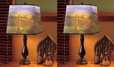 2 Photo Real Country View Scene Landscape Table Lamp Light Accent Decor