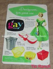 VINTAGE GAY WARE TIN SIGN new 50s advert plastic canister RETRO KITCHEN gayware